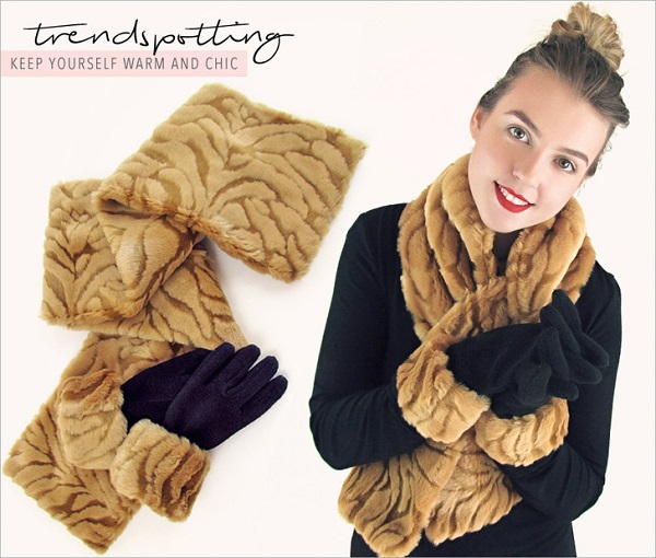 Tutorial: Faux fur pull-through scarf and glove set