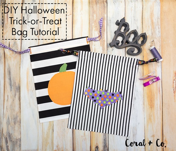 Tutorial: Easy drawstring trick-or-treat bag