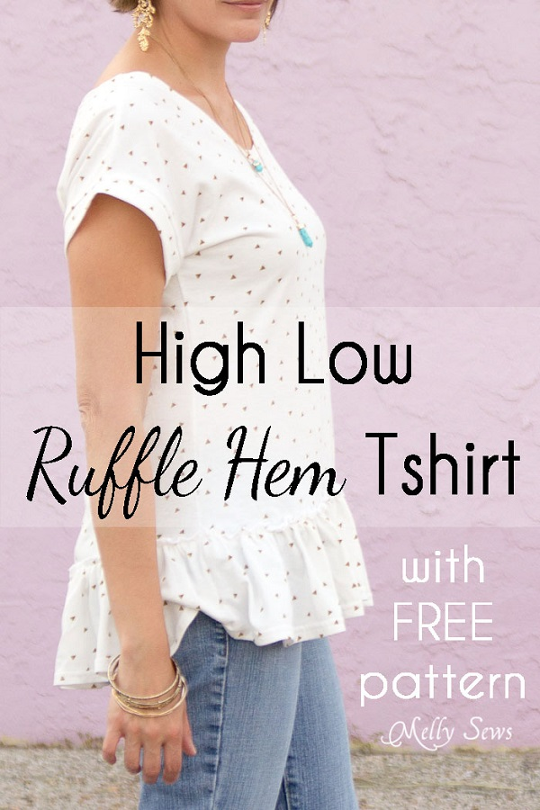 Tutorial: Ruffle hem high low t-shirt