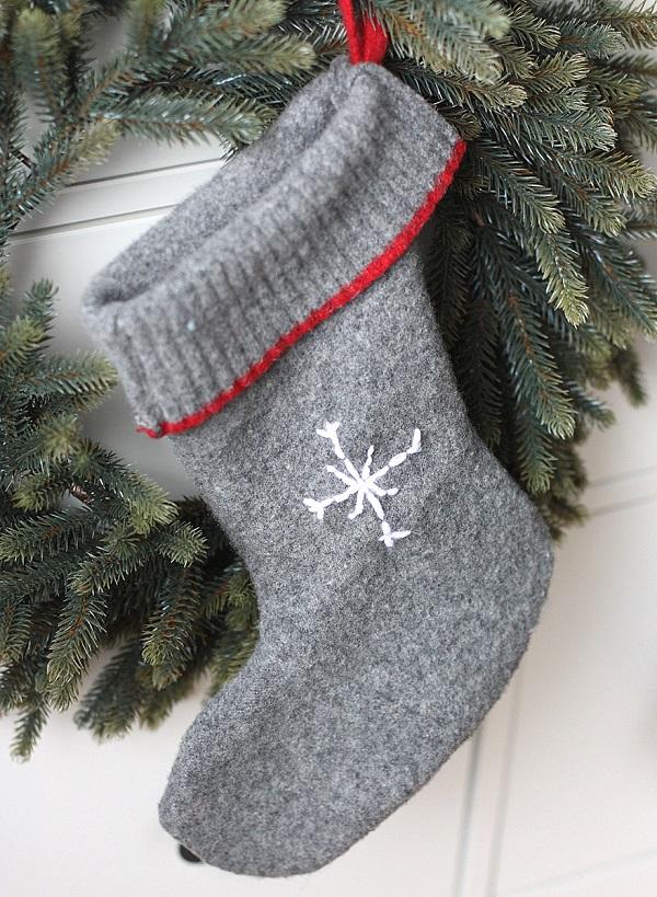 tutorial easy wool sweater christmas stockings sewing - Sweater Christmas Stockings