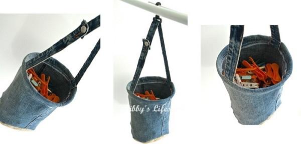 Tutorial: Upcycled denim bucket peg bag