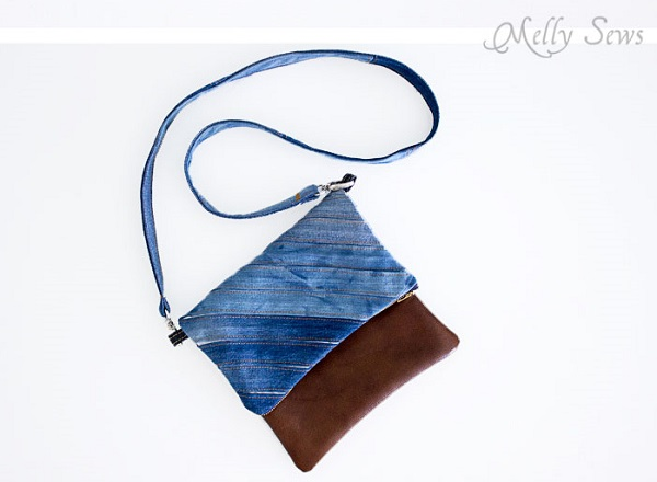 Tutorial: Upcycled denim and leather fold over clutch