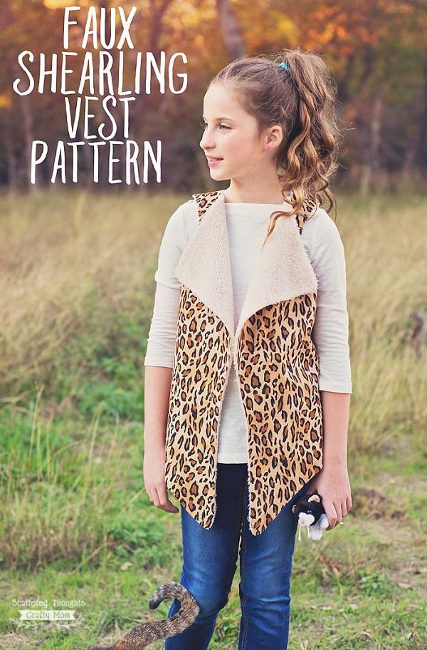 Free pattern: Girls faux shearling vest