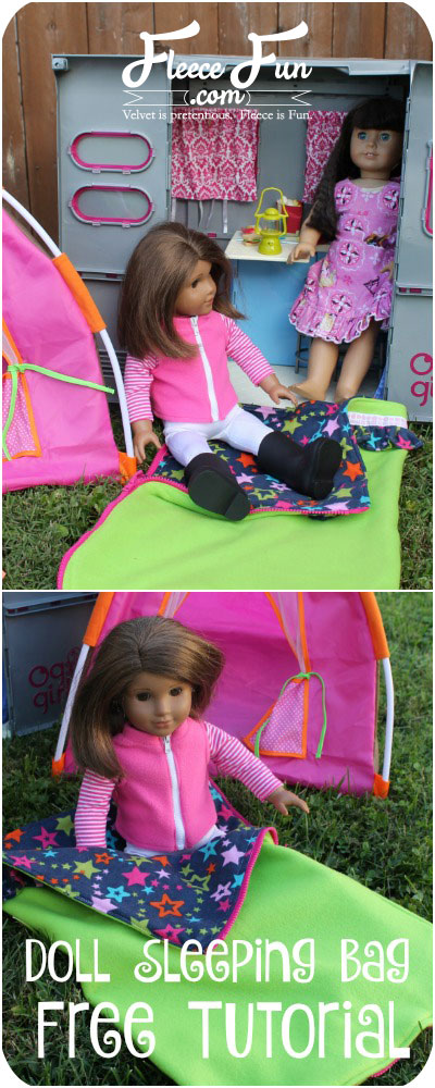 "Tutorial: Fleece sleeping bag for an 18"" doll"