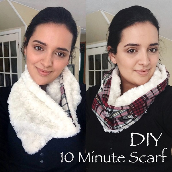 Tutorial: 10 minute Minky lined cowl scarf
