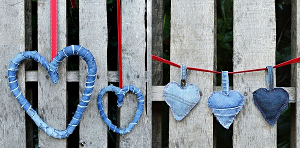 Tutorial Recycled denim hearts 2 ways