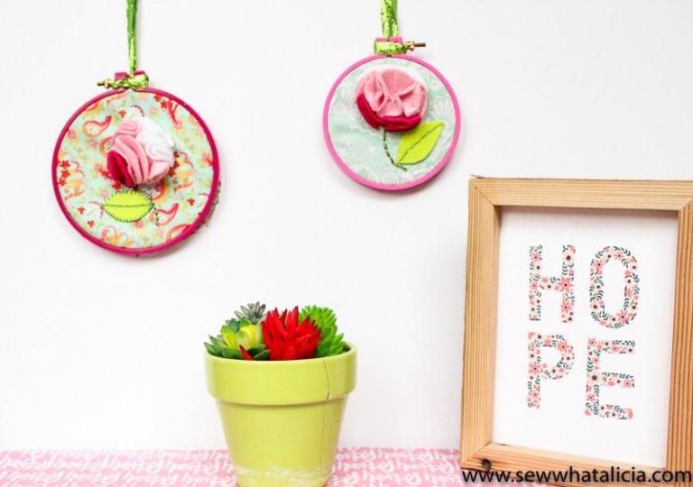 Tutorial 3-D felt flower hoop art