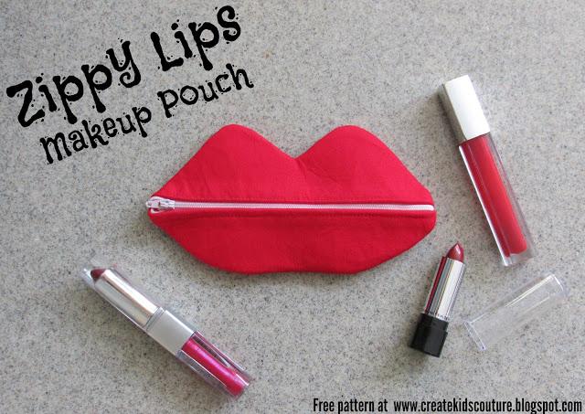 Free pattern: Zippy Lips zipper pouch