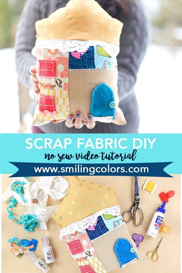 Video tutorial No-sew scrap fabric house pillow