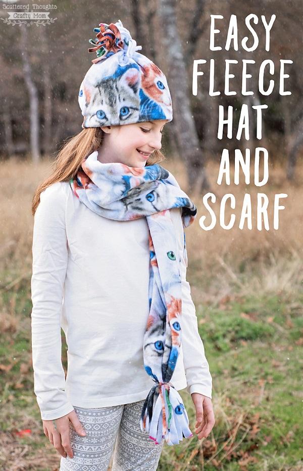 Tutorial Easy fleece hat and scarf set