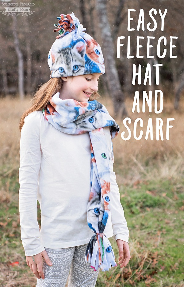 Tutorial: Easy fleece hat and scarf set