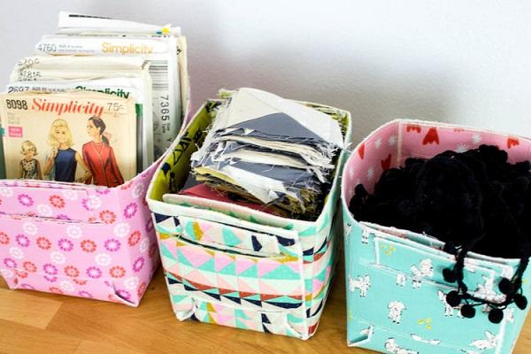 Free pattern: Fold-up reversible fat quarter baskets