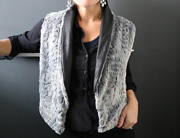 Tutorial: Reversible faux fur shawl collar vest