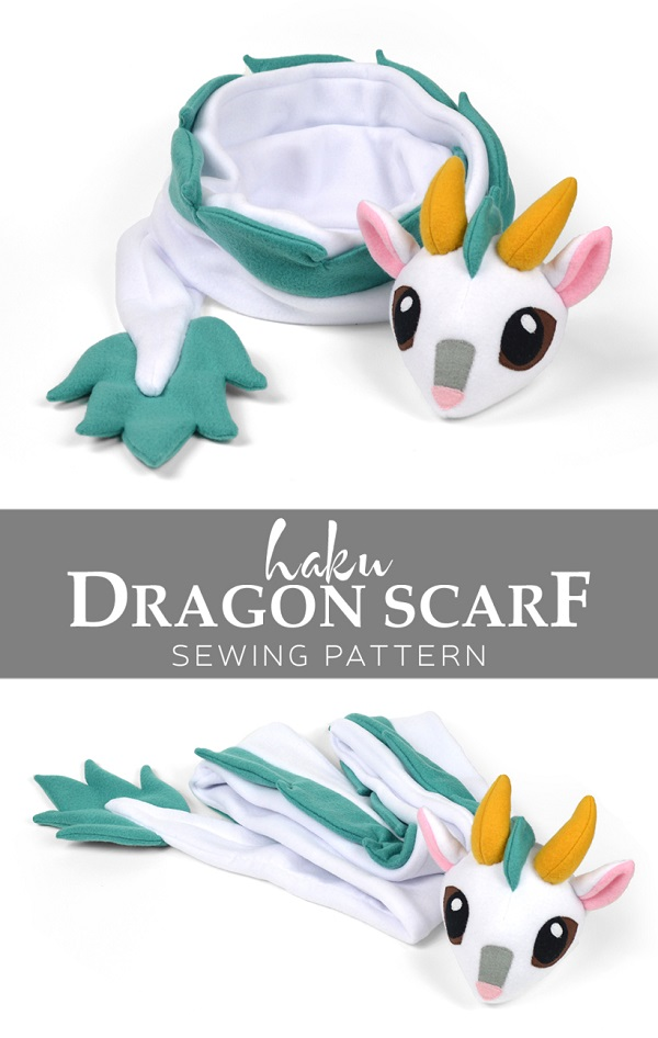 Free pattern: Fleece Haku dragon scarf
