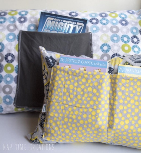 Tutorial: Reading pillow with pockets for books