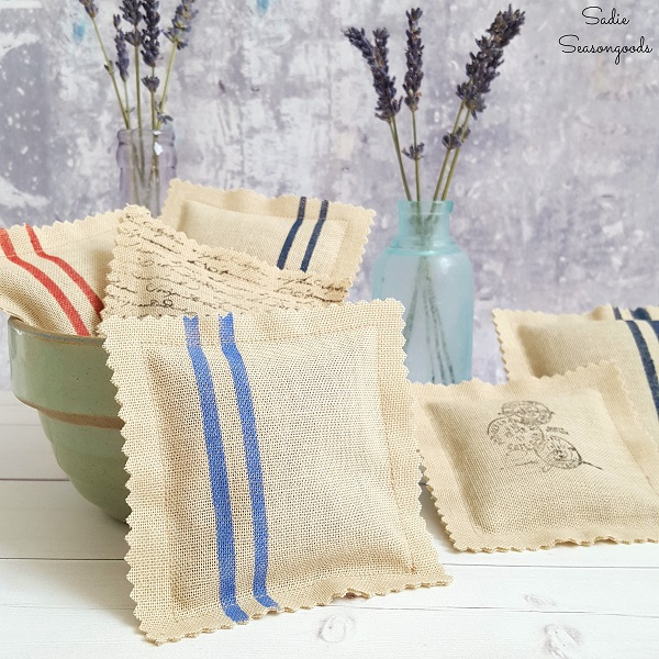 Tutorial: Make vintage grain sack sachets from a thrifted curtain