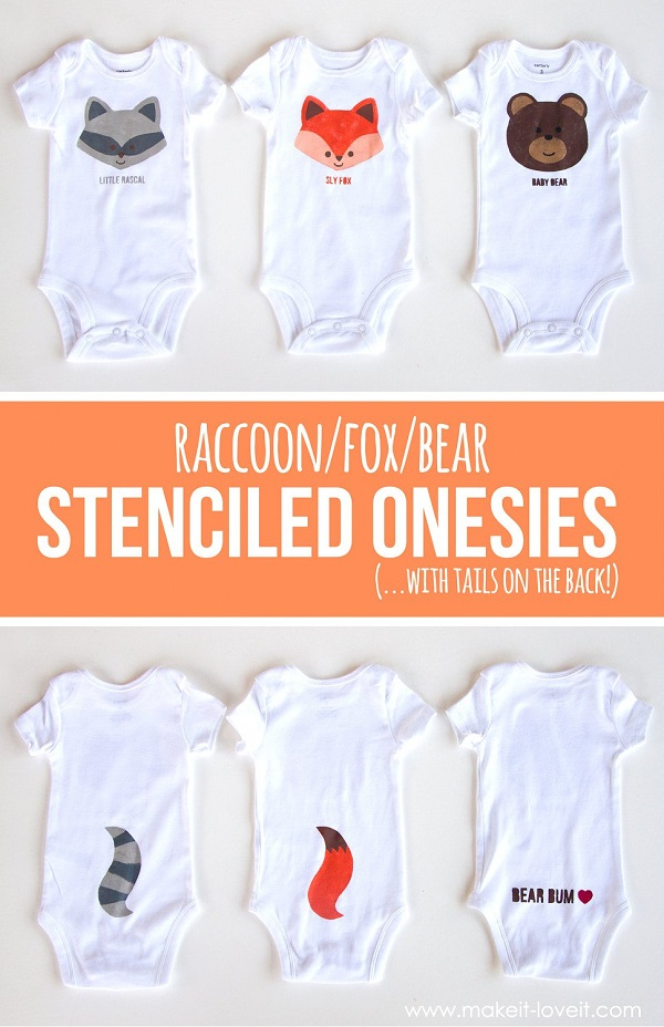 Tutorial and template: Woodland stenciled onesies