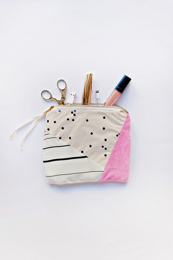 Tutorial: Scrapbusting patchwork zipper pouch