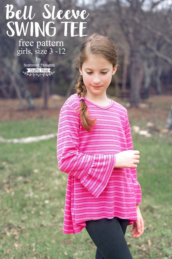 Free pattern: Bell sleeve swing tee for girls