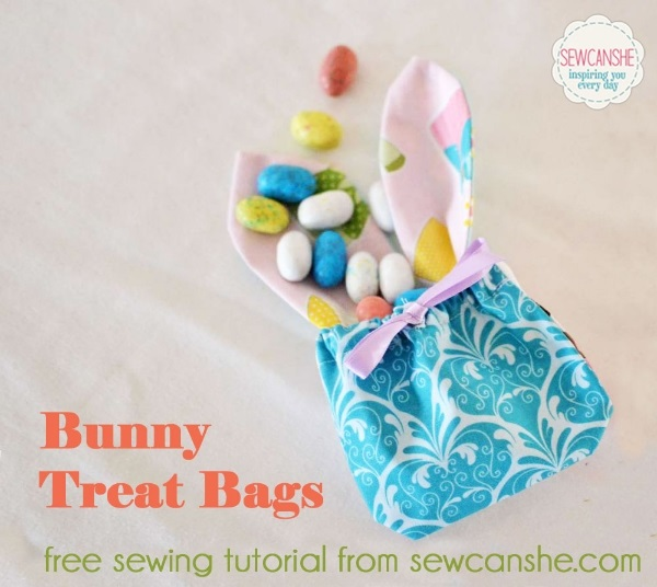 Tutorial and pattern: Charm square bunny treat bags