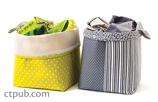 Tutorial: Fat quarter fabric storage baskets