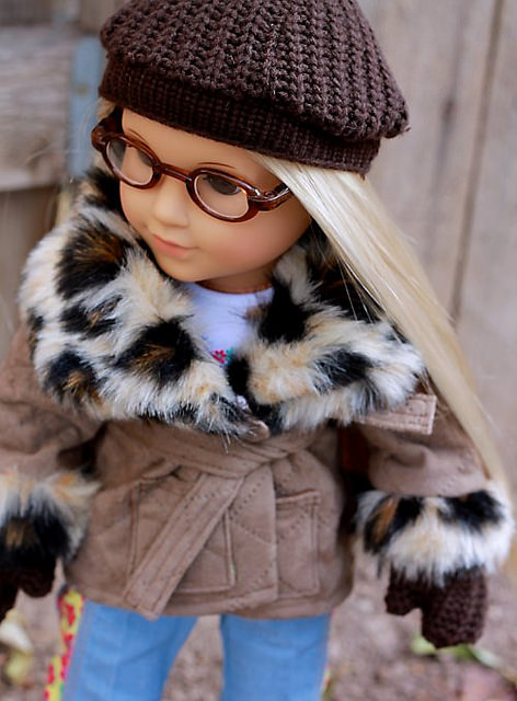 """Tutorial and pattern: Hat and mittens for 18"""" doll"""