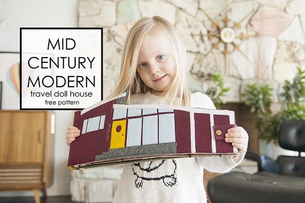 Tutorial and pattern Mid century felt dollhouse