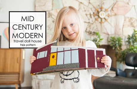 Tutorial and pattern: Mid century felt dollhouse