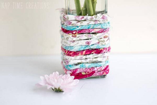 Tutorial: Scrapbusting fabric wrapped vase