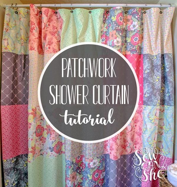 Tutorial: Fat quarter patchwork shower curtain
