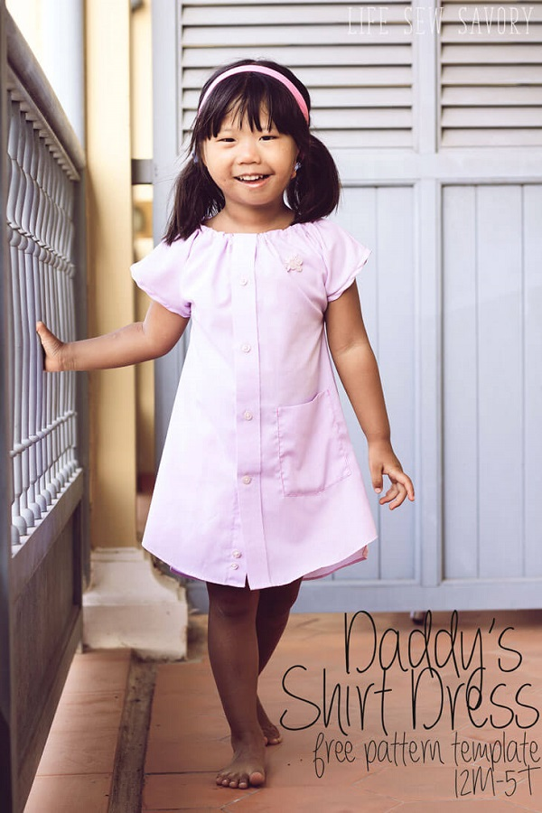 Tutorial and pattern: Little girl's dress from daddy's shirt