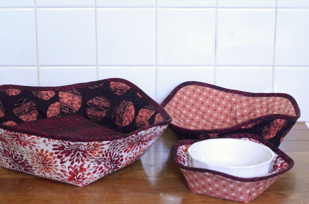 Microwave hot bowl holders in Kyoto fabric by Amy Barickman