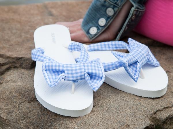 Tutorial No-sew gingham bow flip flops