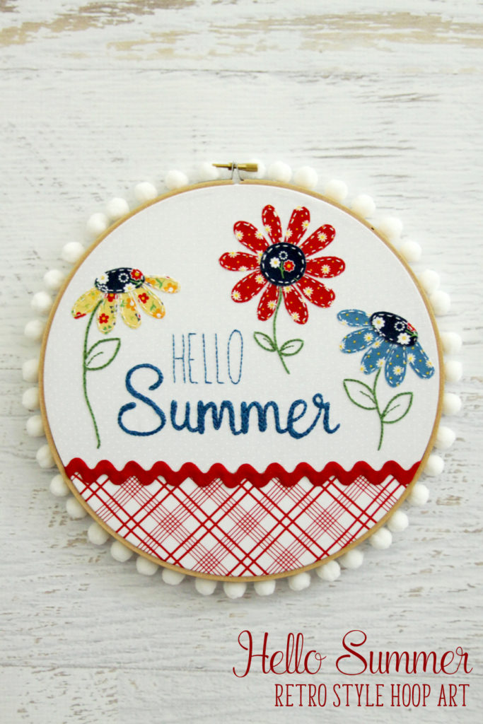 Tutorial and pattern: Hello Summer hoop art