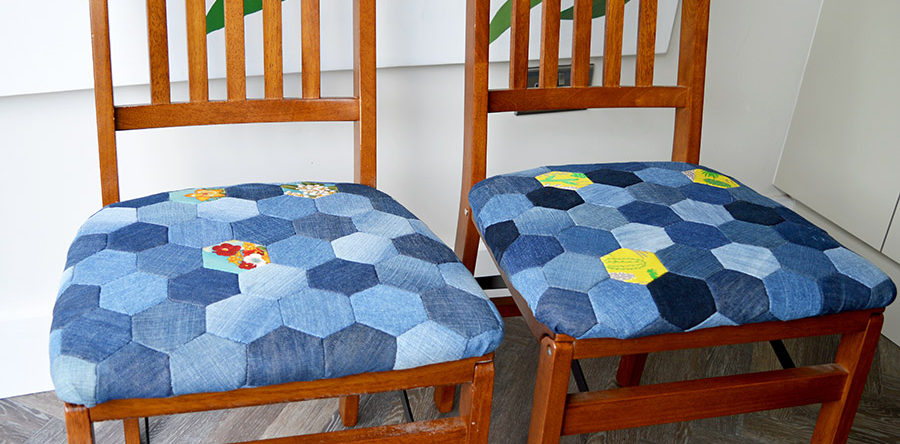 Tutorial: Upcycled denim patchwork chair cushions