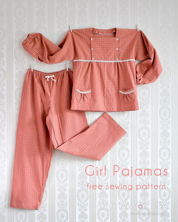 Tutorial and pattern: Girls pajamas with button flap bodice