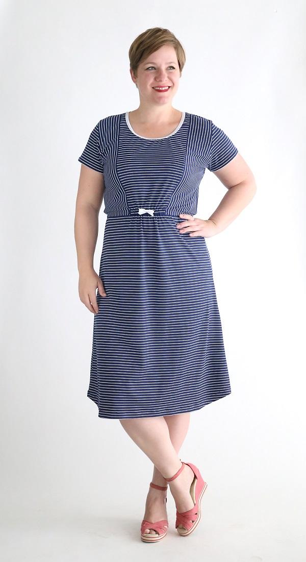 Tutorial and pattern: Striped midi t-shirt dress
