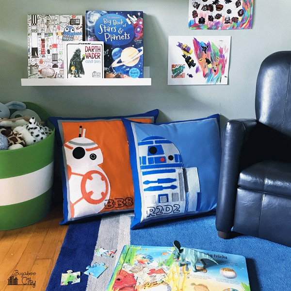 Tutorial and pattern: Applique Star Wars BB8 and R2D2 pillows