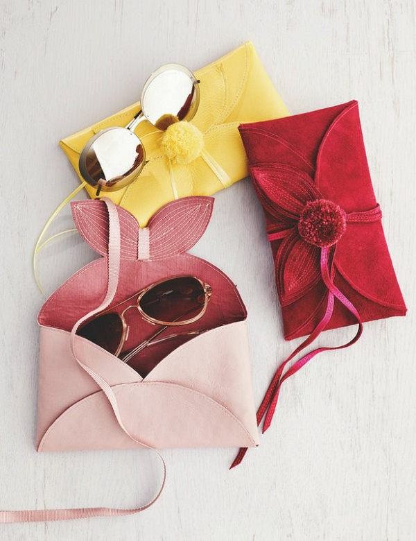 Tutorial and pattern: Leather flower sunglasses case