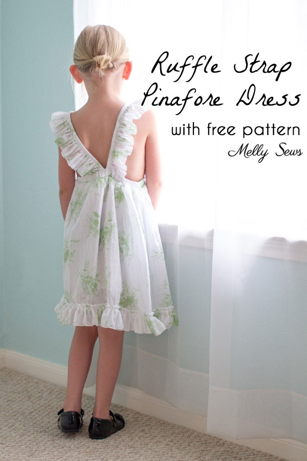 Tutorial and pattern: Girls ruffle back pinafore dress