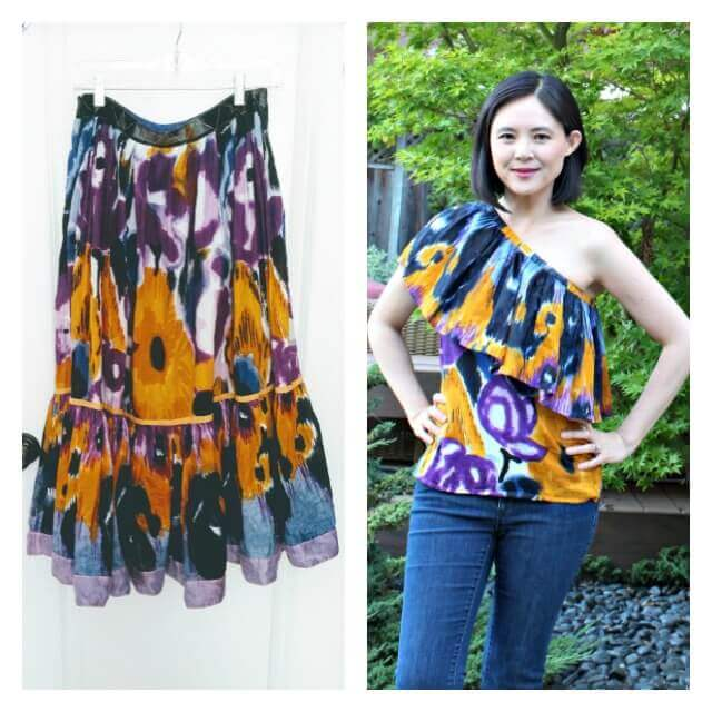 Tutorial: Sew a one shoulder ruffle top from a thrifted skirt