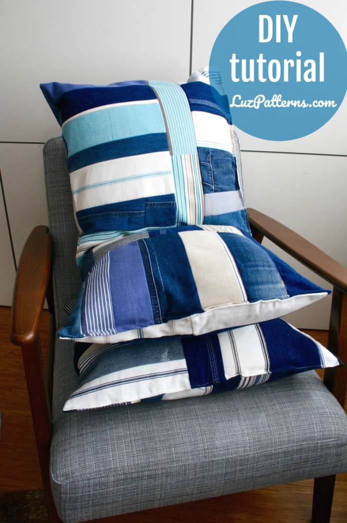 Tutorial: Patchwork cushion cover from upcycled denim and fabric samples