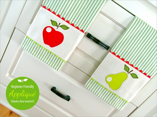Tutorial: Apple and pear applique kitchen towels