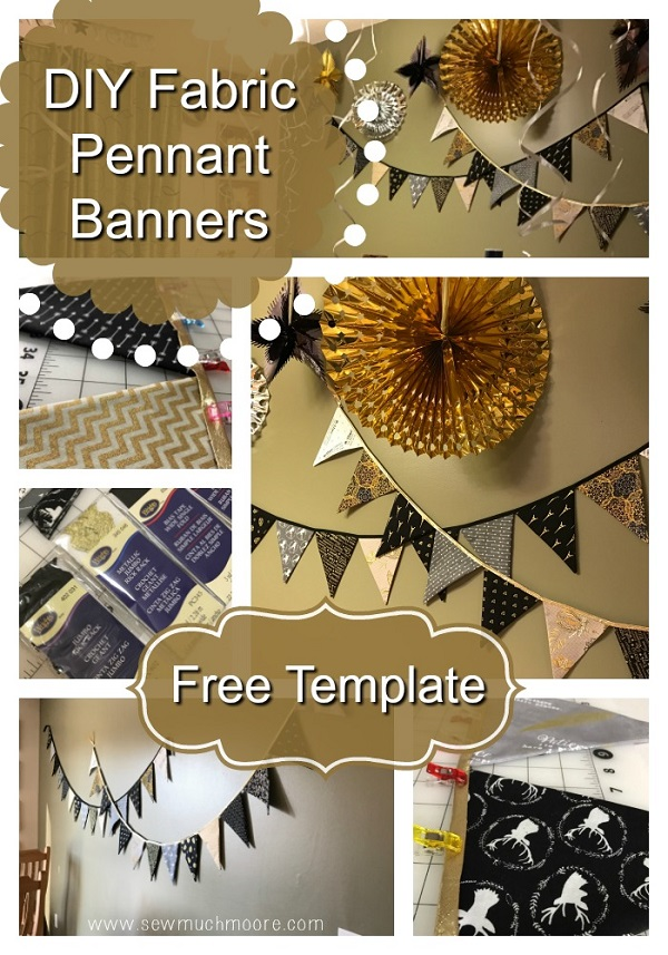 tutorial easy pennant banner for holiday decorating sewing. Black Bedroom Furniture Sets. Home Design Ideas