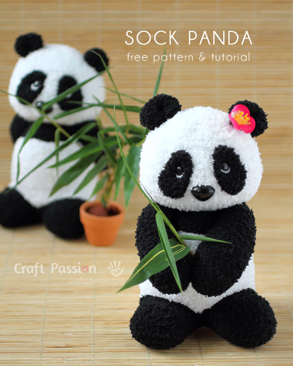 Tutorial and pattern: Sock panda softie