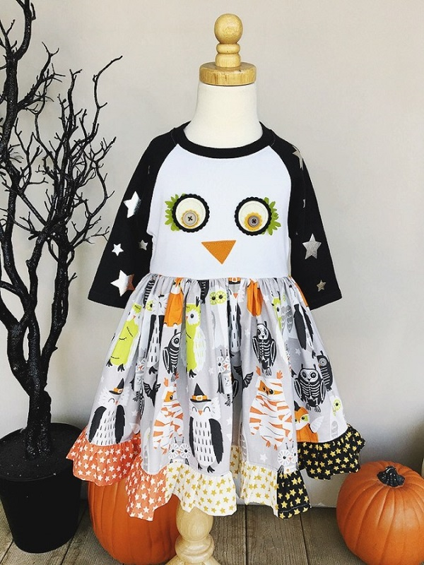 Tutorial: Owl fall dress for little girls