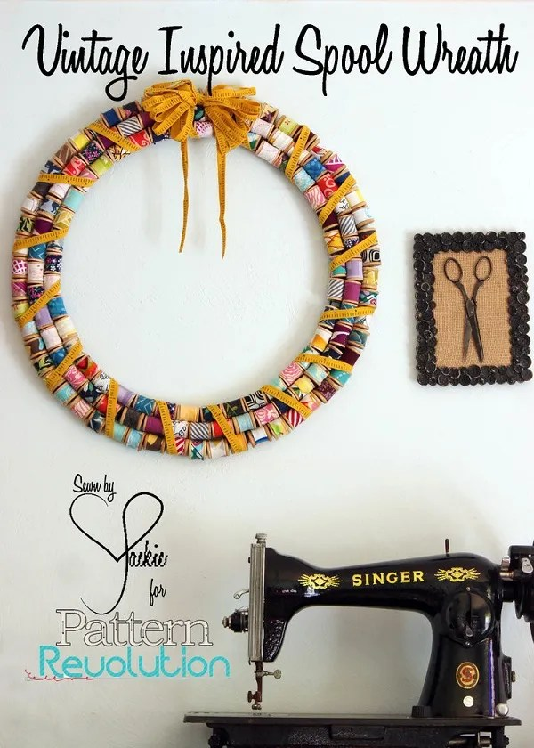 Tutorial: Scrap fabric vintage inspired spool wreath
