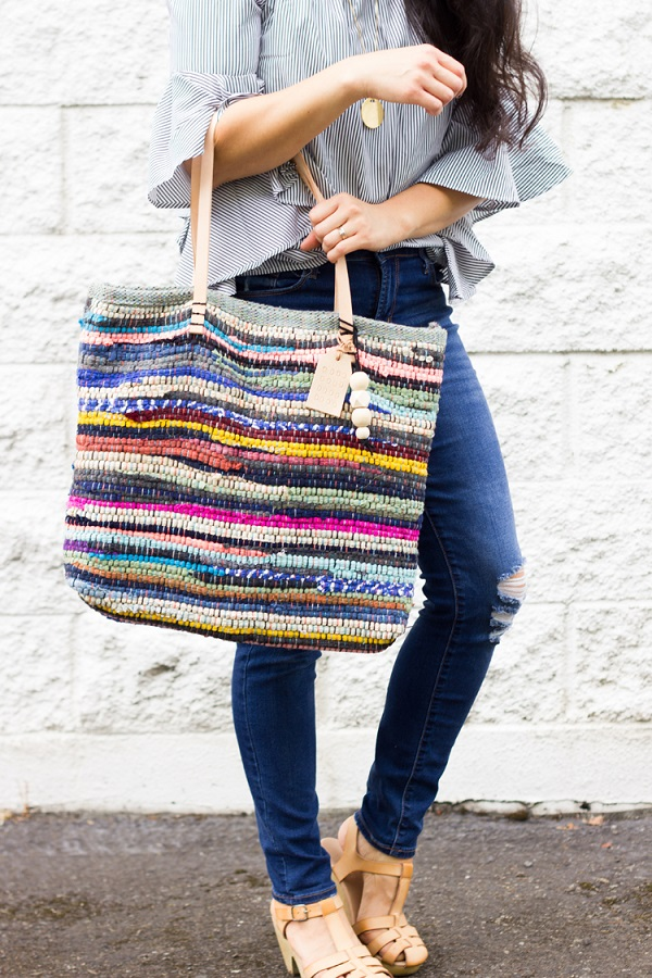Tutorial: Rag rug tote with leather handles