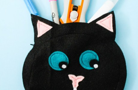Tutorial: Black cat zip pouch