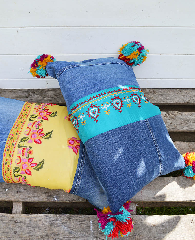 Tutorial: Boho jeans and sari pillows